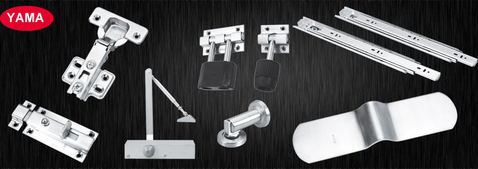 auto hinges, door stoppers, door closer big small banner